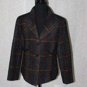Barry Bricken leather trimmed tweed blazer